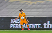 CARSON, CA - OCTOBER 28: Zarek Valentin #4 of the Houston Dynamo in a Houston moves along the sideline with the ball during a game between Houston Dynamo and Los Angeles FC at Banc of California Stadium on October 28, 2020 in Carson, California.