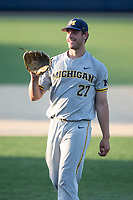 Michigan Wolverines pitcher Steven Hajjar (27) during the NCAA baseball tournament against the Connecticut Huskies on June 4, 2021 at Frank Eck Stadium in Notre Dame, Indiana. The Huskies defeated the Wolverines 6-1. (Andrew Woolley/Four Seam Images)