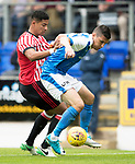 St Johnstone v Sunderland…15.07.17… McDiarmid Park… Pre-Season Friendly<br />Graham Cummings holds off Ty Browning<br />Picture by Graeme Hart.<br />Copyright Perthshire Picture Agency<br />Tel: 01738 623350  Mobile: 07990 594431