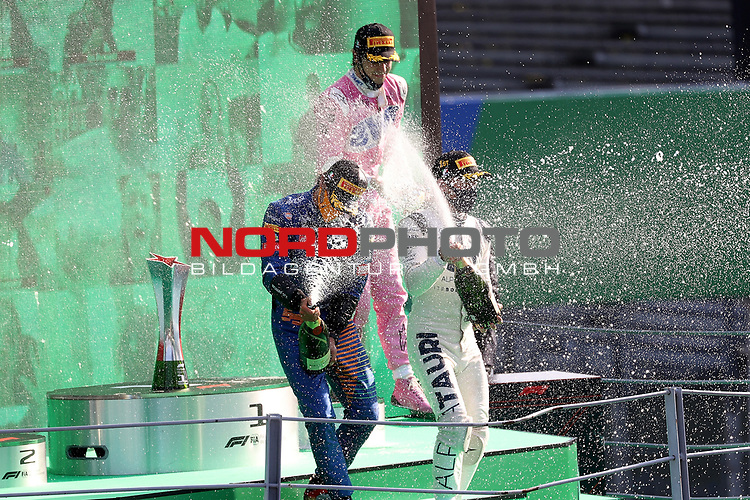 06.09.2020, Autodromo Nazionale di Monza, Monza, FORMULA 1 GRAN PREMIO HEINEKEN D'ITALIA 2020<br />,im Bild<br />Podium:<br />Sieger Pierre Gasly (FRA#10), Scuderia AlphaTauri Honda, 2.Platz für Carlos Sainz Jr. (SPA#55), McLaren F1 Team, 3.Platz für Lance Stroll (CAN#18), BWT Racing Point F1 Team<br /> <br /> Foto © nordphoto / Bratic