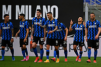 Inter Milan's Alexis Sanchez, second from right, celebrates with his teammates after scoring during the Italian Serie A football match between Inter Milan and Sampdoria at Milan's Giuseppe Meazza stadium, May 8, 2021.<br /> UPDATE IMAGES PRESS/Isabella Bonotto