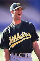 Tim Hudson of the Oakland Athletics during a 2000 season MLB game against the  Los Angeles Angels at Angel Stadium in Anaheim, California. (Larry Goren/Four Seam Images)