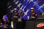 HOT SPRINGS, AR - AUGUST 12: United State marine corp presenting the trophy before the weight-in on day three FLW Forrest Wood Cup on Lake Ouachita in Hot Springs, Arkansas. (Photo by Justin Manning/Eclipse Sportswire/Getty Images)