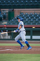 AZL Royals first baseman Logan Porter (8) starts down the first base line during an Arizona League game against the AZL Giants Black at Scottsdale Stadium on August 7, 2018 in Scottsdale, Arizona. The AZL Giants Black defeated the AZL Royals by a score of 2-1. (Zachary Lucy/Four Seam Images)