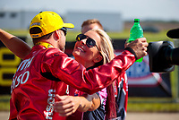 Jun 2, 2019; Joliet, IL, USA; NHRA pro stock motorcycle rider Matt Smith celebrates with wife Angie Smith after winning the Route 66 Nationals at Route 66 Raceway. Mandatory Credit: Mark J. Rebilas-USA TODAY Sports