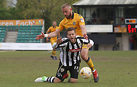 Jorge Grant of Notts County is challenged by Dan Butler of Newport County during the Sky Bet League Two match between Newport County and Notts County at Rodney Parade, Newport, Wales, UK. Saturday 06 May 2017