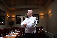 copyright : magali corouge / Documentography.Restaurent Miroir in Paris.08/07/09...The chef Sebastien posing or in the kitchen of the restaurent.