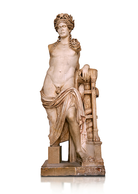 Second Century Roman statue of Apollo excavated from the Theatre of Carthage. The Bardo National Museum, Tunis, Tunisia. Inv No C939.  Against a white background.