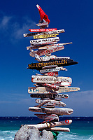 Signpost on the beach, Netherland Antilles, Bonaire, Caribbean Sea, Atlantic