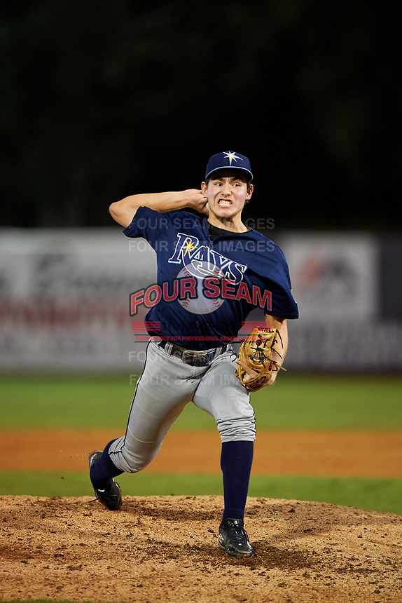 Pitcher Nick Long (13) of Sarasota High School in Sarasota, Florida playing for the Tampa Bay Rays scout team during the East Coast Pro Showcase on July 29, 2015 at George M. Steinbrenner Field in Tampa, Florida.  (Mike Janes/Four Seam Images)