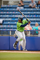 Lynchburg Hillcats first baseman Emmanuel Tapia (28) at bat during a game against the Salem Red Sox on May 10, 2018 at Haley Toyota Field in Salem, Virginia.  Lynchburg defeated Salem 11-5.  (Mike Janes/Four Seam Images)
