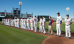 Players line up before the Triple-A All-Star game played on Wednesday night, July 17, 2013 at Aces Ballpark in Reno, Nevada.