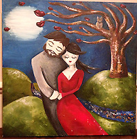 BNPS.co.uk (01202 558833).Pic: BNPS..Chloe Mayo's painting...Artist Chloe Mayo painted a picture of her perfect husband before setting eyes on an identical real-life version of the man she has married...Chloe, 31, created the prophetic image of a herself holding hands with a male partner who had a dark beard...She forgot about the hastily-painted picture and weeks later joined an online dating website...Chloe spent two months messaging Michael Goeman, 30, through the singles site before meeting him face to face...After dating for six weeks Chloe thought Michael's face looked familiar and then remembered her painting and realised he was the spitting image of the man she painted...Because the oil painting was so uncannily similar to Michael, she hid the canvas under her bed in fear he thought she may have been stalking him...When she finally revealed the image to him a week later he was stunned at the resemblance, but to her relief he was not put off and actually proposed 18-months later...The couple were married at a ceremony near their home in May 2012 and have proudly hung the painting up in their lounge in Worcester Park, near Croydon in Surrey..