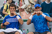 Paris, France, 3 June, 2017, Tennis, French Open, Roland Garros, Men's doubles Horia Tecau (ROU) / Jean-Julien Rojer (NED) (L)<br /> Photo: Henk Koster/tennisimages.com