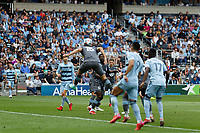 ST. PAUL, MN - AUGUST 21: Michael Boxall #15 of Minnesota United FC with a header during a game between Sporting Kansas City and Minnesota United FC at Allianz Field on August 21, 2021 in St. Paul, Minnesota.