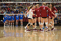 STANFORD, CA - NOVEMBER 17: Stanford, CA - November 17, 2019: Holly Campbell, Jenna Gray, Morgan Hentz, Holly Campbell, Kathryn Plummer, Audriana Fitzmorris at Maples Pavilion. #4 Stanford Cardinal defeated UCLA in straight sets in a match honoring neurodiversity. during a game between UCLA and Stanford Volleyball W at Maples Pavilion on November 17, 2019 in Stanford, California.