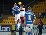 St Johnstone v Motherwell…..12.02.20   McDiarmid Park   SPFL<br />Jason Kerr heads against the post<br />Picture by Graeme Hart.<br />Copyright Perthshire Picture Agency<br />Tel: 01738 623350  Mobile: 07990 594431