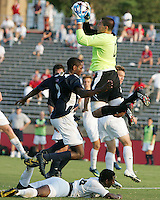 04 September 2009: Andrew Quinn #0 of the University of Notre Dame  grabs the ball over Ike Opara #23 of Wake Forest University during an Adidas Soccer Classic match at the University of Indiana in Bloomington, In. The game ended in a 1-1 tie..