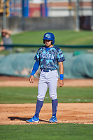 Zac Ching (25) of the Ogden Raptors takes a lead from first base against the Idaho Falls Chukars at Lindquist Field on August 9, 2019 in Ogden, Utah. The Raptors defeated the Chukars 8-3. (Stephen Smith/Four Seam Images)