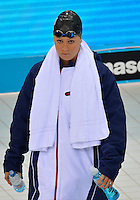July 28, 2012: Elizabeth Beisel of USA arrives on deck to compete in Women's 400 meter individual medley at the Aquatics Center on day one of 2012 Olympic Games in London, United Kingdom.