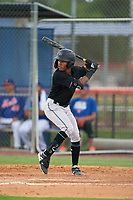 GCL Marlins Nasim Nunez (1) at bat during a Gulf Coast League game against the GCL Mets on August 11, 2019 at St. Lucie Sports Complex in St. Lucie, Florida.  The Marlins defeated the Mets 3-2 in the second game of a doubleheader.  (Mike Janes/Four Seam Images)