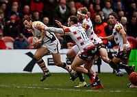 Photo: Richard Lane/Richard Lane Photography. Gloucester Rugby v Wasps. Aviva Premiership. 05/03/2016. Wasps' Rob Miller attacks.