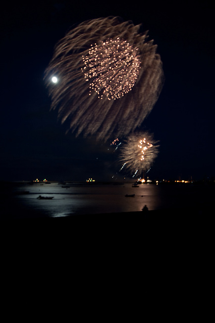 Independence Day fireworks on the fourth of July 2009 in Provincetown.