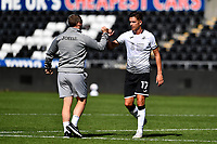 Steve Cooper Head Coach of Swansea City speaks to Kristoffer Peterson of Swansea City at full time during the pre season friendly match between Swansea City and Forest Green Rovers at the Liberty Stadium in Swansea, Wales, UK. Tuesday 01 September 2020