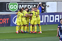 15th March 2020, Wellington, New Zealand;  The Phoenix celebrate a goal during the A-League - Wellington Phoenix versus Melbourne Victory football match at Sky Stadium in Wellington on Sunday the 15th March 2020.