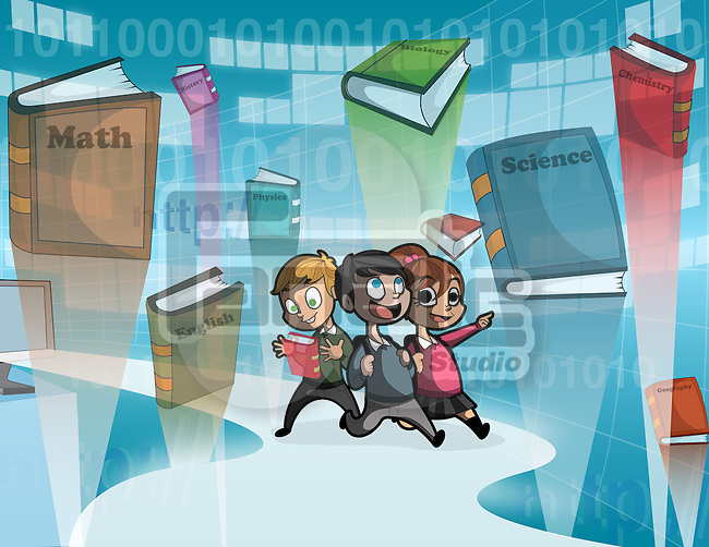Illustrative image of children and books against binary code representing online learning