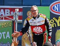 June 1, 2014; Englishtown, NJ, USA; NHRA top fuel driver Doug Kalitta during qualifying for the Summernationals at Raceway Park. Mandatory Credit: Mark J. Rebilas-