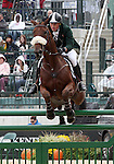 Sam Watson and Horseware Bushman of Ireland compete in the final stadium jumping round of the FEI  World Eventing Championship at the Alltech World Equestrian Games in Lexington, Kentucky.