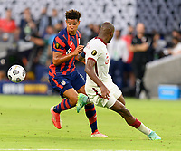 AUSTIN, TX - JULY 29: Nicholas Gioacchini #8 of the United States keeps his eye on a loose ball during a game between Qatar and USMNT at Q2 Stadium on July 29, 2021 in Austin, Texas.