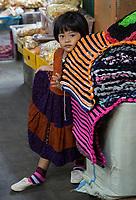 Yogyakarta, Java, Indonesia.  Little Girl, Beringharjo Market.