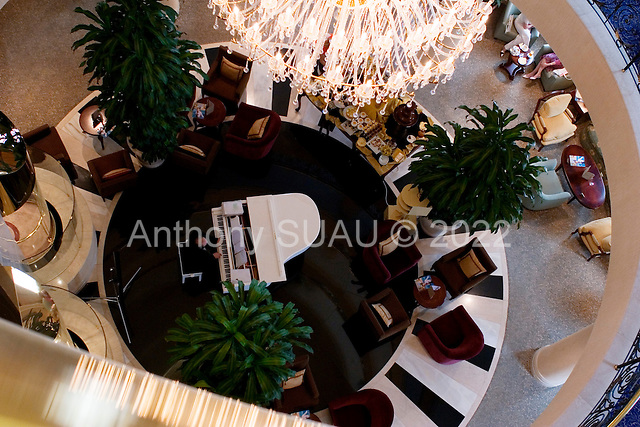 Donets'k, Ukraine.July 16, 2005 ..The atrium view of  the luxurious Dombass Palace Hotel....