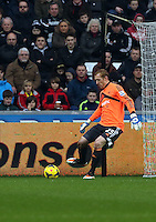 Wednesday, 01 January 2014<br /> Pictured: Gerhard Tremmel.<br /> Re: Barclay's Premier League, Swansea City FC v Manchester City at the Liberty Stadium, south Wales.