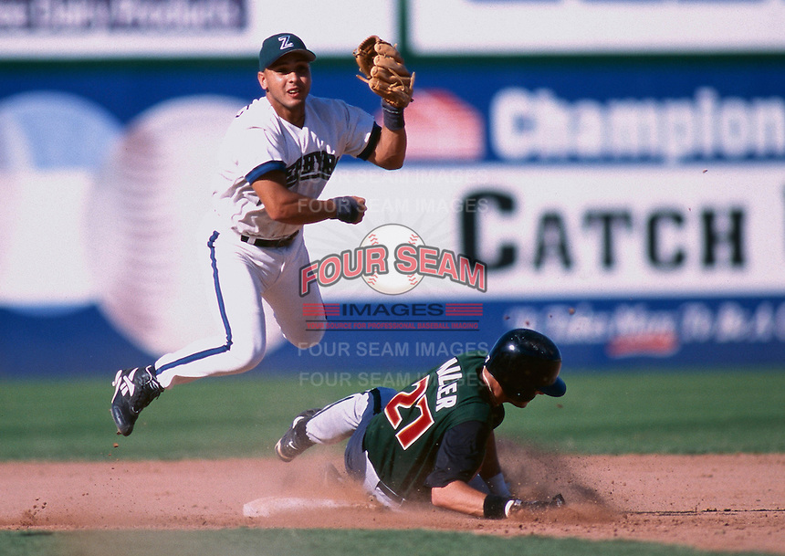 Carlos Hernandez of the New Orleans Zephyrs during the 1998 AAA Championship Series against the Buffalo Bison at Cashman Field in Las Vegas, Nevada. (Larry Goren/Four Seam Images)