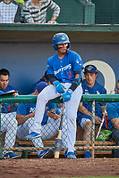 Ramon Rodriguez (7) of the Ogden Raptors waits on deck to bat against the Orem Owlz at Lindquist Field on September 3, 2019 in Ogden, Utah. The Raptors defeated the Owlz 12-0. (Stephen Smith/Four Seam Images)