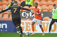 Blackpool's Demetri Mitchell under pressure from Milton Keynes Dons' Ben Gladwin<br /> <br /> Photographer Kevin Barnes/CameraSport<br /> <br /> The EFL Sky Bet League One - Blackpool v Milton Keynes Dons - Saturday 24 October 2020 - Bloomfield Road - Blackpool<br /> <br /> World Copyright © 2020 CameraSport. All rights reserved. 43 Linden Ave. Countesthorpe. Leicester. England. LE8 5PG - Tel: +44 (0) 116 277 4147 - admin@camerasport.com - www.camerasport.com