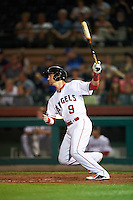 Scottsdale Scorpions Taylor Ward (9), of the Los Angeles Angels of Anaheim organization, during a game against the Mesa Solar Sox on October 17, 2016 at Scottsdale Stadium in Scottsdale, Arizona.  Mesa defeated Scottsdale 12-2.  (Mike Janes/Four Seam Images)