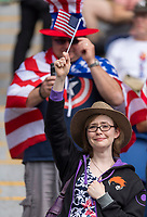 PARIS,  - JUNE 16: A fan cheers during a game between Chile and USWNT at Parc des Princes on June 16, 2019 in Paris, France.