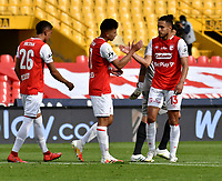 BOGOTA-COLOMBIA, 06-10-2020: Jugadores de Independiente Santa Fe, celebran la victoria sobre Alianza Petrolera, al finalizar el partido de la fecha 12 entre Independiente Santa Fe y Alianza Petrolera, por la Liga BetPlay DIMAYOR 2020-I, en el estadio Nemesio Camacho El Campin de la ciudad de Bogota. / Players of Independiente Santa Fe, celebrates the victory over Alianza Petrolera, at the end of a match of the 12th date between Independiente Santa Fe and Alianza Petrolera, for the BetPlay DIMAYOR Leguaje 2020-I at the Nemesio Camacho El Campin Stadium in Bogota city. / Photo: VizzorImage / Luis Ramirez / Staff.