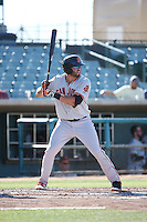 Jose Vizcaino,jr (10) of the San Jose Giants bats against the Lancaster JetHawks during the first game of a doubleheader at The Hanger on July 14, 2016 in Lancaster, California. Lancaster defeated San Jose, 3-0. (Larry Goren/Four Seam Images)