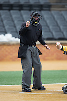Home plate umpire Drew Maher makes a strike call during the NCAA baseball game between the Towson Tigers and the Wake Forest Demon Deacons at Wake Forest Baseball Park on March 1, 2015 in Winston-Salem, North Carolina.  The Demon Deacons defeated the Tigers 15-8.  (Brian Westerholt/Four Seam Images)
