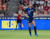 HOUSTON, TX - JUNE 13: Alex Morgan #13 of the USWNT looks to the ball during a game between Jamaica and USWNT at BBVA Stadium on June 13, 2021 in Houston, Texas.