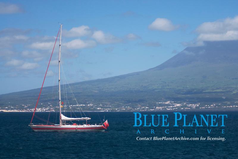 Sailing Boat at Pico Island, Azores, Atlantic Ocean