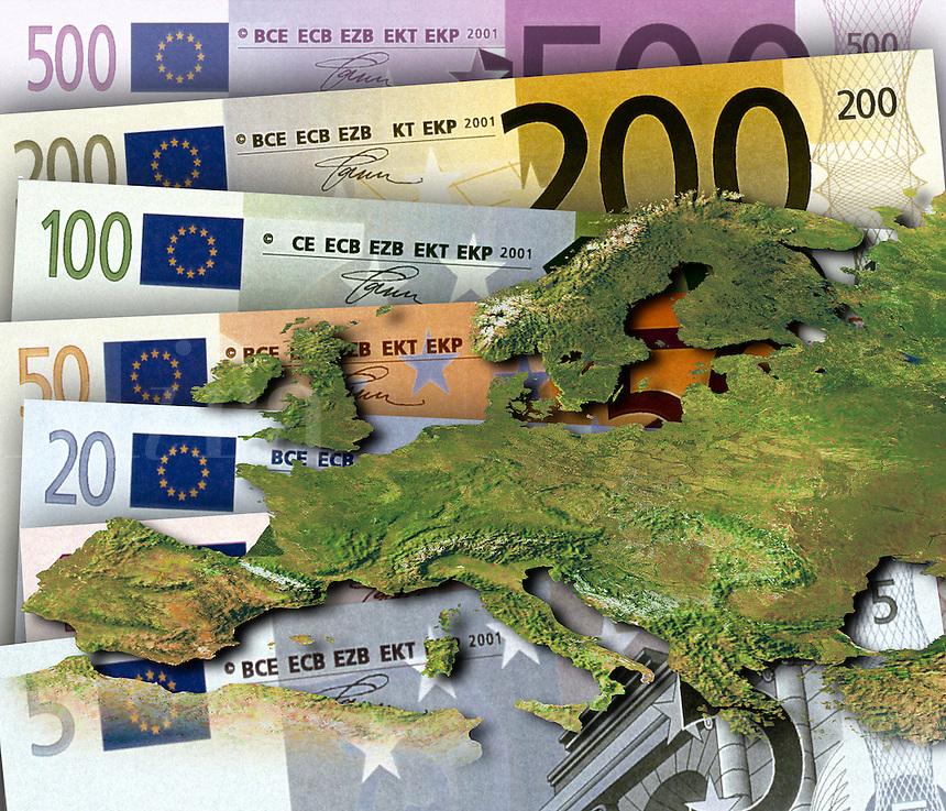 Euro banknotes behind satelitte map of Europe