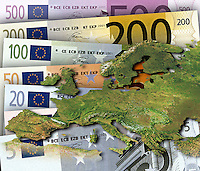 Euro banknotes behind satelitte map of Europe
