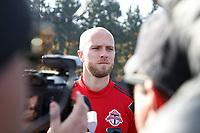 TUKWILA, WA - NOVEMBER 08: Michael Bradley #4 of Toronto FC is talks to the media at Starfire Sports Complex on November 08, 2019 in Tukwila, Washington.