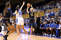 DURHAM, NC - JANUARY 16: Sam Brunelle #33 of Notre Dame University shoots a three-pointer during a game between Notre Dame and Duke at Cameron Indoor Stadium on January 16, 2020 in Durham, North Carolina.